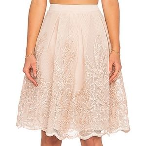 Endless Rose Lexi Midi Embroidered nude skirt